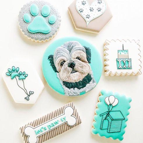 Custom dog portrait cookies