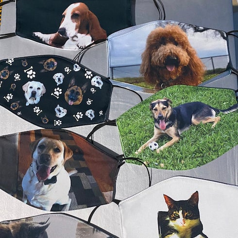 Masks with your dog printed on them