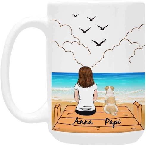 A customized mug with a dog