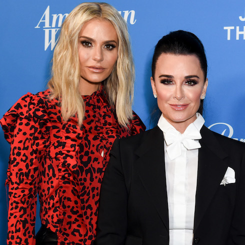 Dorit Kemsley and Kyle Richards pose on the carpet