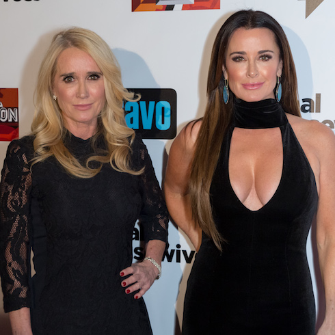 Kim Richards and Kyle Richards at a premiere party
