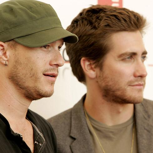 Heath Ledge and Jake Gyllenhaal promoting Brokeback Mountain