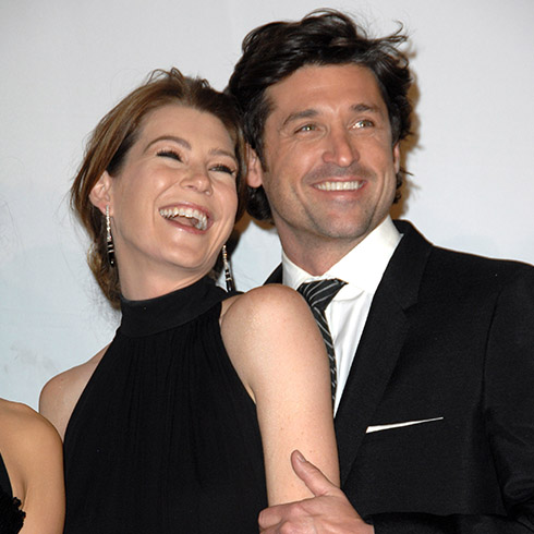 Ellen Pompeo and Patrick Dempsey laughing