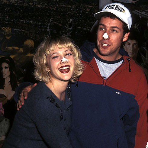 Drew Barrymore and Adam Sandler at an event for The Wedding Singer