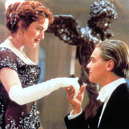Iconic scene from Titanic with Kate Winslet and Leonardo DiCaprio