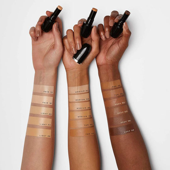 Multi-toned forearms showing concealer colours