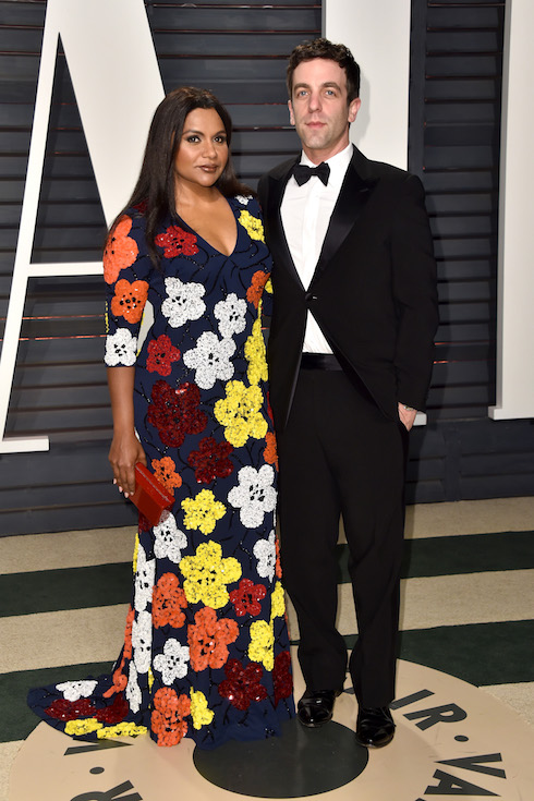 Mindy Kaling and B.J. Novak attend the Vanity Fair Oscar Party in 2017