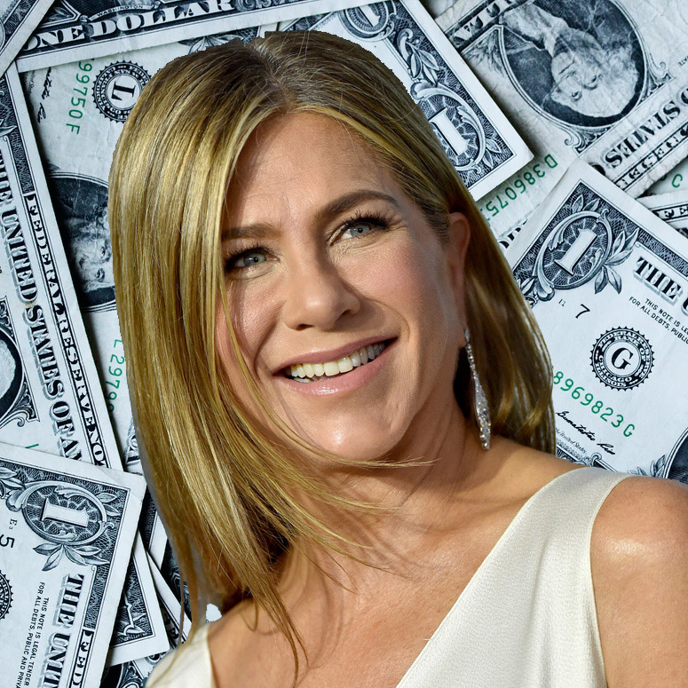 Jennifer Aniston against a background of US money
