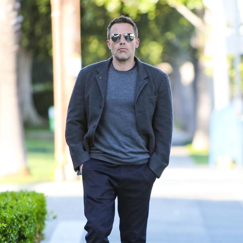 Ben Affleck walking outside in casual ware, paparazzi shot