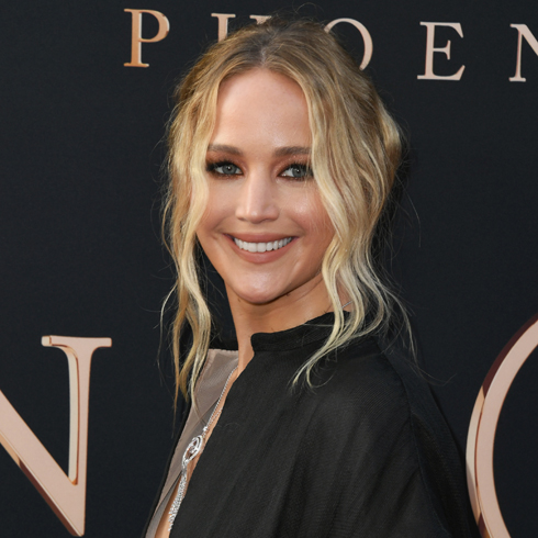 Jennifer Lawrence in a black dress at a red carpet event
