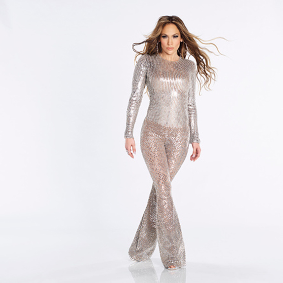 Jennifer Lopez in shimmery bell-bottomed outfit
