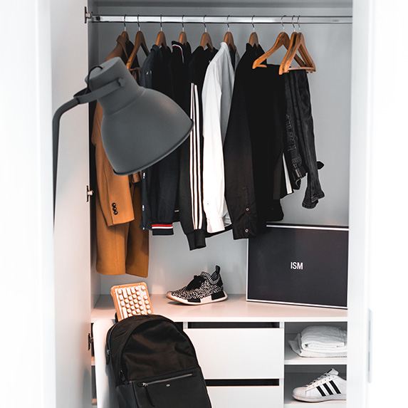 Closet with jackets hanging