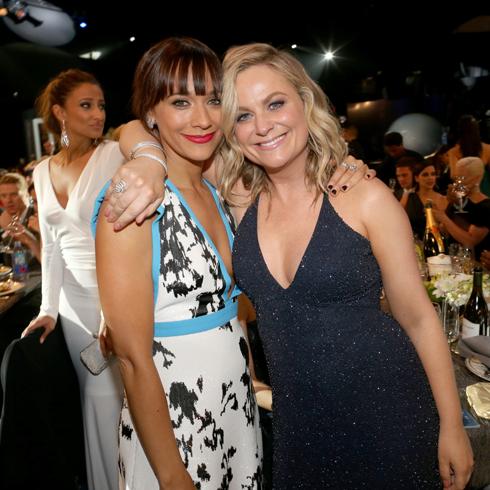 Rashida Jones and Amy Poehler at a post-awards party