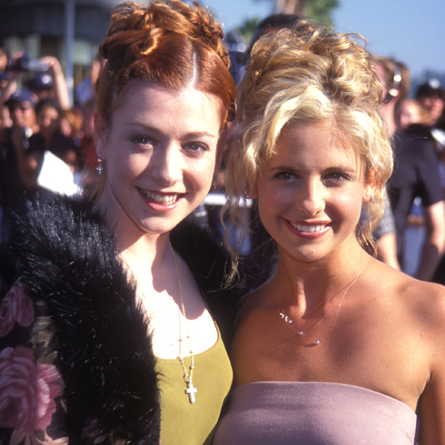 Alyson Hannigan and Sarah-Michelle Gellar at a red carpet event in the 1990s/early 2000s