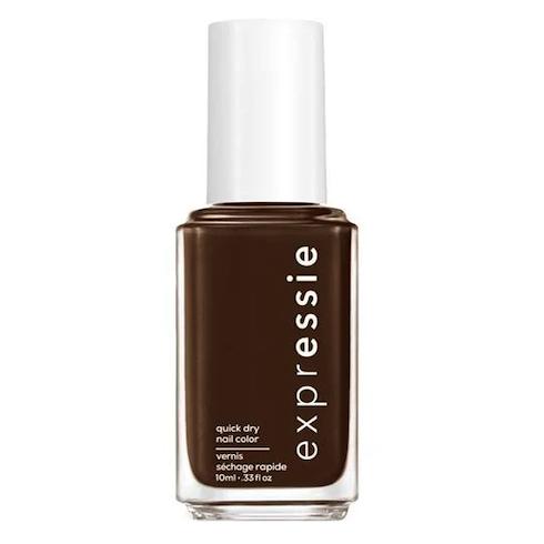 Bottle of dark brown nail polish