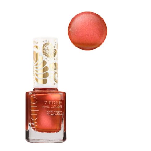 Metallic orange red nail polish bottle