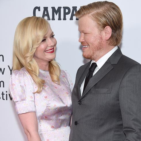 Kirsten Dunst smiles at husband Jessie Plemons