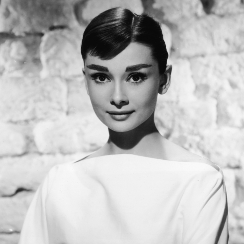 Black and white promo photo of Audrey Hepburn