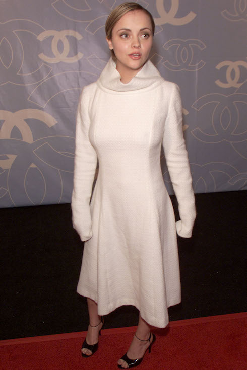 Christina Ricci wears a monochromatic white look for a Chanel boutique opening in 2000