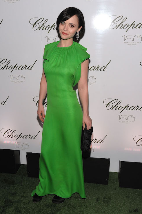 Christina Ricci wears a bright green gown to an event in 2010