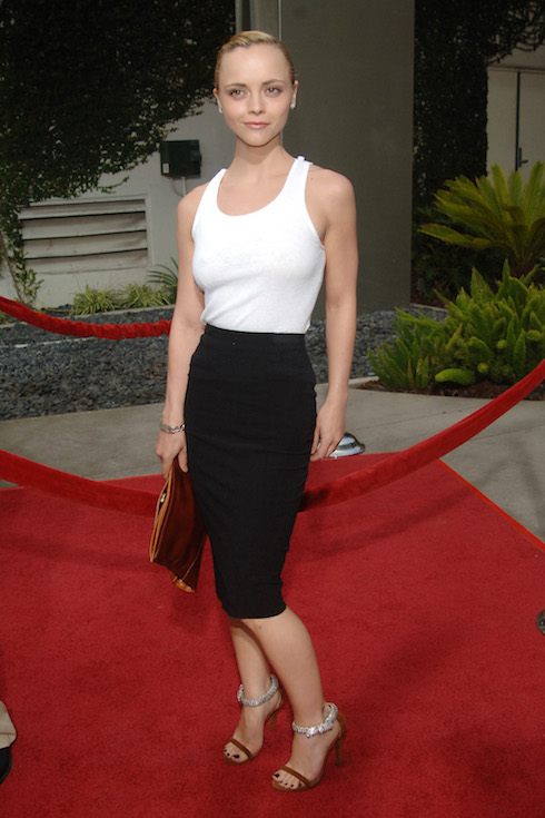 Christina Ricci wears a white tank top and black skirt to a film premiere in 2005