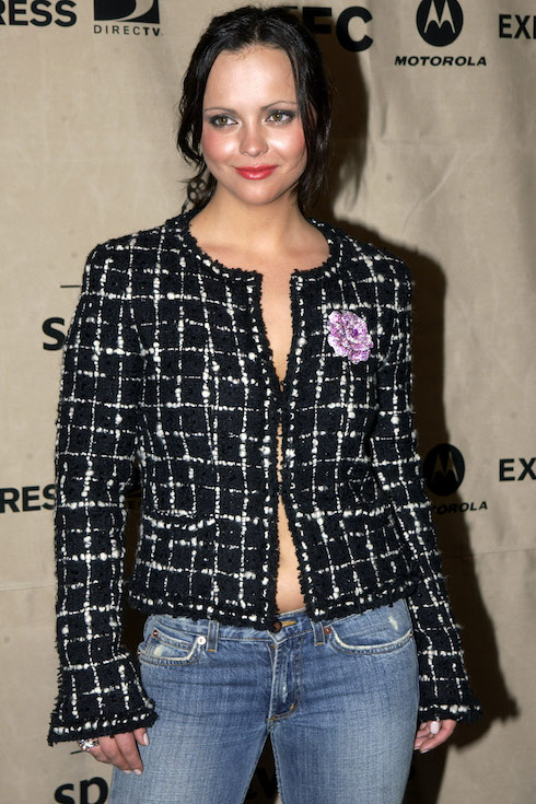 Christina Ricci wears a tweed blazer and jeans to an event in 2003