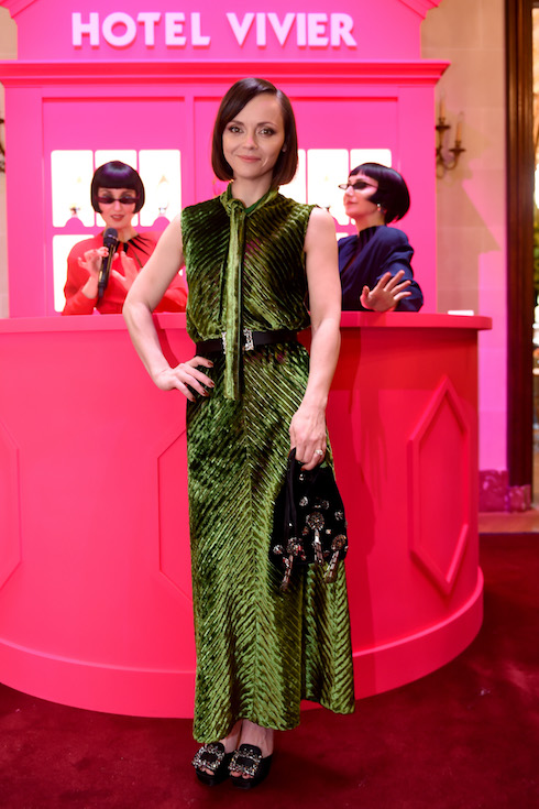 Christina Ricci wears a green velvet dress to an event in 2020