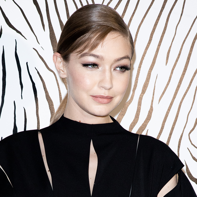 Top Model Gigi Hadid is seen backstage at the Versace fashion show on February 21, 2020 in Milan