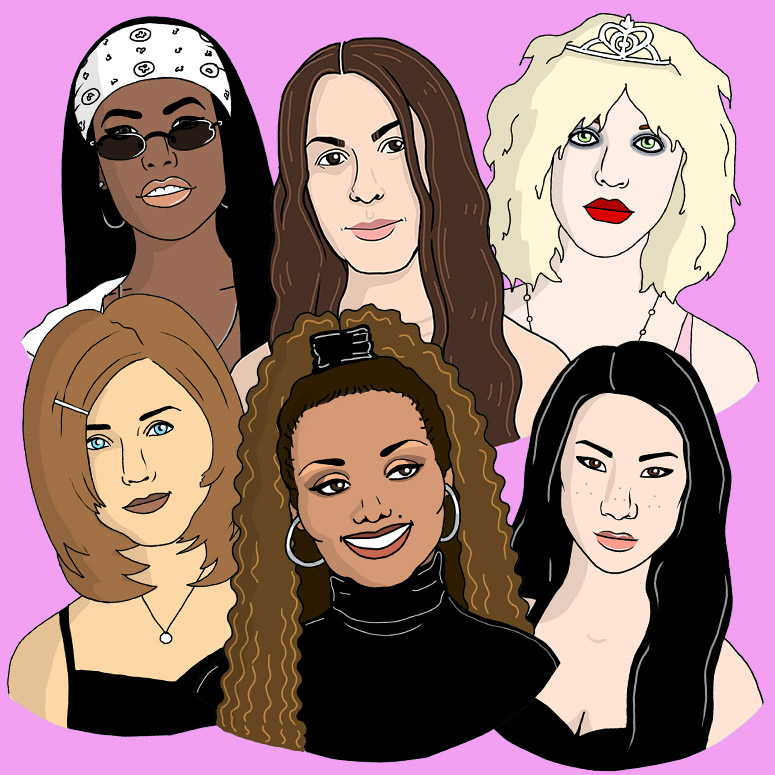 Illustrations of 90s icons including Jennifer Aniston, Alanis Morrisette, Janet Jackson, Lucy Lui, Courtney Love, Aaliyah