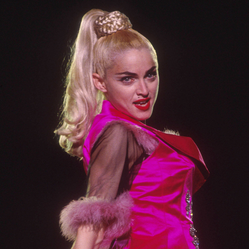 Madonna on stage during the Blonde Ambition tour