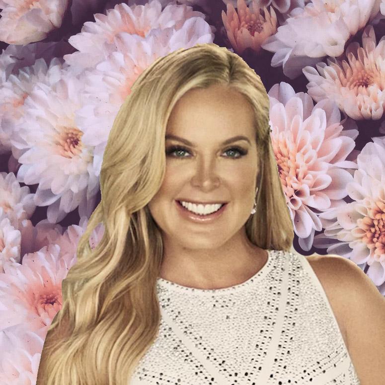 New housewife Elizabeth Lyn Vargas against a floral background