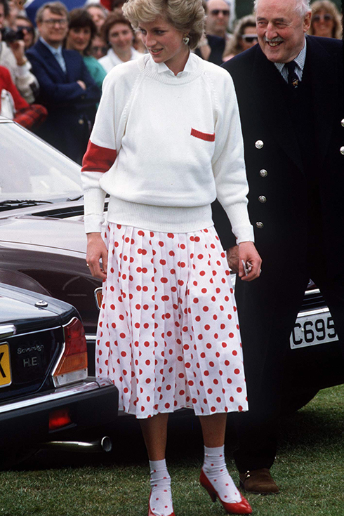 Diana, Princess Of Wales, Wearing A Mondi White Skirt With Red Polka Dots With Matching Ankle Socks At A Polo Match In Windsor