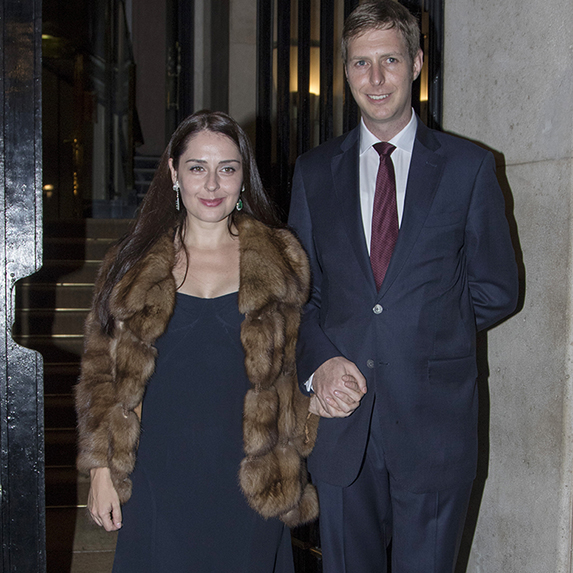 Prince Leka and Princess Elia Zaharia of Albania attend a private dinner in homage to them on October 20, 2016 in Madrid, Spain.