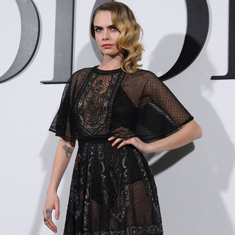 Model Cara Delevingne at a photo call for a Dior event